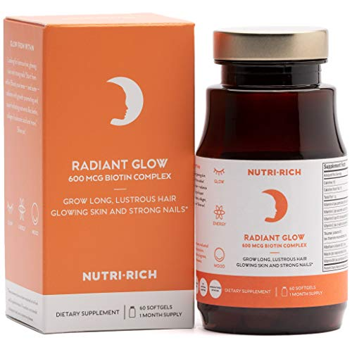 BIOTIN Hair Growth Supplement Radiant Glow by Nutri-Rich! 600 mcg Biotin + Collagen + Hyaluronic Acid! PABA Supplement for Beautiful Hair, Glowing Skin and Strong Nails (60 Softgels)