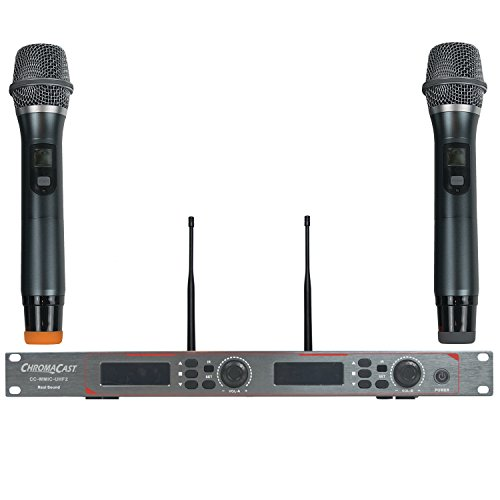 Wireless Microphone 900mhz (ChromaCast CC-WMIC-UHF2 Pro Series UHF Dual Channel Wireless Microphone System with 2 Wireless Microphones, 3