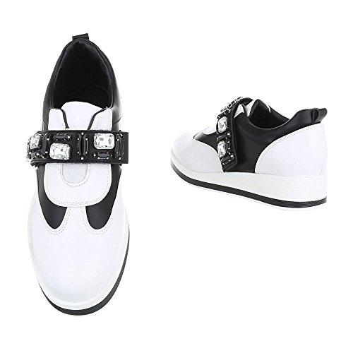 Ital-Design - Tobillo bajo Mujer negro blanco