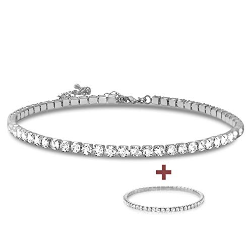 (Zealmer Single Fake Diamond Chain Choker Necklace with Stretch Bracelet Silver)