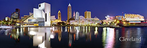 Cleveland Skyline PHOTO PRINT UNFRAMED NIGHT Color City Downtown 11.75 inches x 36 inches Rock Roll Hall of Fame Photographic Panorama Poster Picture Standard Size