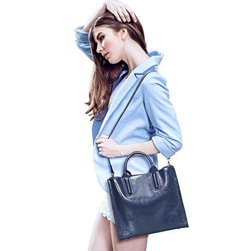 Crossbody Top Medium Handle Bag Sale Satchel Leather On S Women ZONE Shoulder Genuine Blue pa1fWTqzw