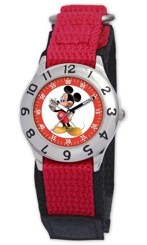 Disney Kids' D001S505 Mickey Mouse Time Teacher Red Velcro Watch