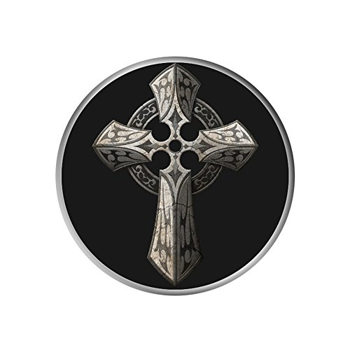 Cell Phone Holder, Expanding Grip Stand Pop Mount Socket for iPhone, iPad, Samsung, Tablets and More - Rough Stone Gothic Cross with Tribal (Tribal Inlay)