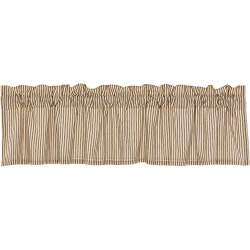 - VHC Brands Farmhouse Kitchen Curtains Sawyer Mill Ticking Rod Pocket Cotton Hanging Loops Striped 16x72 Valance Charcoal Dark Creme White