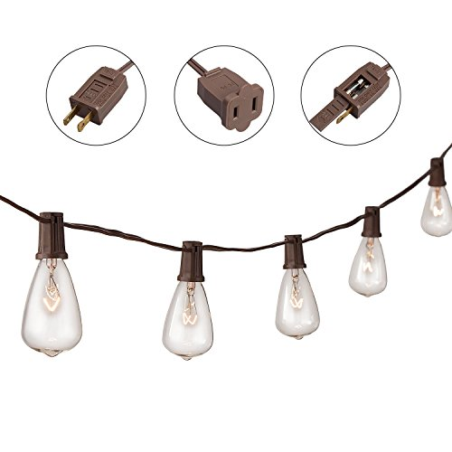 Niosta 13Ft String Lights with 10 Clear ST38 Bulbs,UL listed Backyard Patio Lights,Hanging Indoor/Outdoor String Lights for Bistro Pergola Deckyard Tents Market Cafe Gazebo Porch Letters Party Decor ()