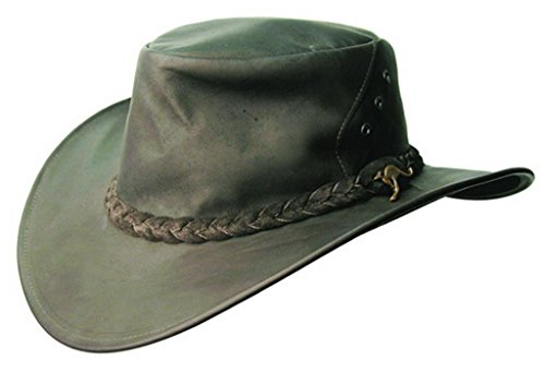 (Kakadu Australia Darwin Traveller Leather Hat-Kangaroo Leather Made in Australia Black)