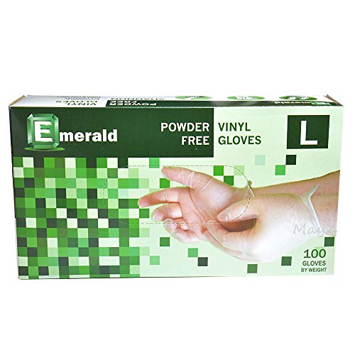 Emerald Shannon Powder Free Vinyl Gloves 100 Gloves (Larger #VN9708)