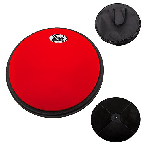 PAITITI 8 Inch Silent Portable Practice Drum Pad Round Shape with Carrying Bag Orange Color