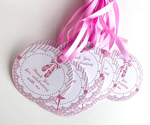 Ballerina Thank You Tags 12 pcs, Ballet Favors Birthday Decoration Party Supplies, Slippers Baby Shower Themed
