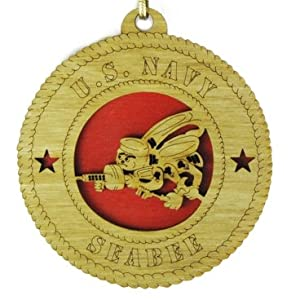 Navy Seabee Laser Cut Military Ornament by Orange Kat, LLC