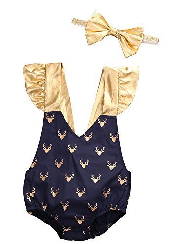 2style Baby Boy Girl Deer Dot Romper Short Sleeve Ruffle Outfit+Bowknot Headband (60(0-3M), (Sixties Outfit)