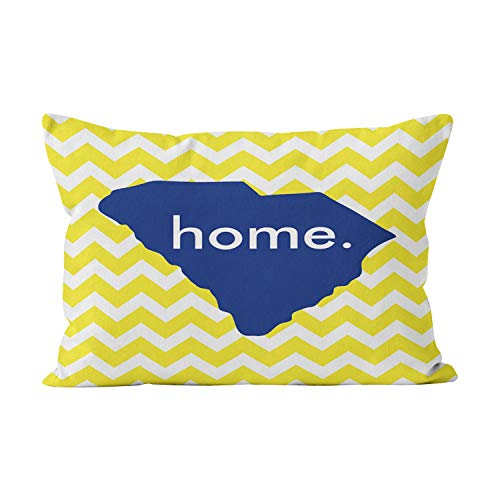 (Sokiiy Yellow Chevron South Carolina State Home Unique Hidden Zipper Home Decorative Rectangle Throw Pillow Cover Cushion Case King 20x36 Inch One Side Design Printed Pillowcase)