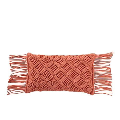 J-line - Cojín macramé Largo de algodón, Color Naranja ...