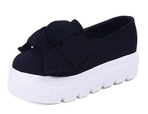 Maybest Dames Casual Strikjes Plateau Slip Comfort Mocassins Pumps Loafers Creepers Sneakers Plateauzolen Zwart