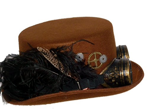 [27732 (Brown) Ladies Deluxe Hat wGoggles And Trim] (Adult Brown Steampunk Costumes Pants)