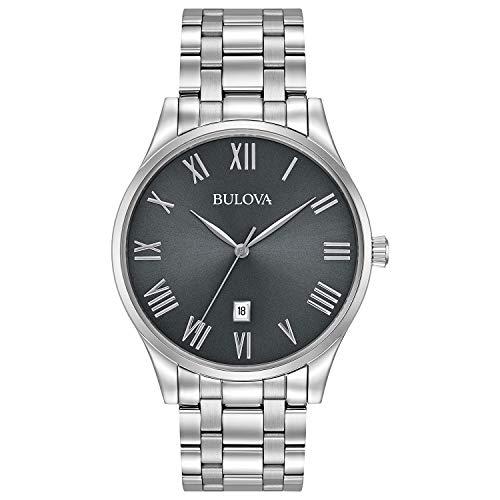 (Bulova Men's Analog-Quartz Watch with Stainless-Steel Strap, Silver, 20 (Model: 96B261))