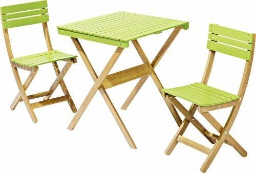 Holz Gartenmobel Set Tisch 65x65cm 2 Stuhle Grun Balkon Klappbar