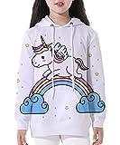 NAYINLAN Unicorn Print Pullovers Hoodies Hooded Sweatshirt Long Sleeve Top,Rainbow Unicorn,S