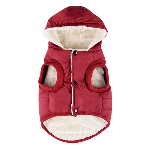 Dog Winter Coat Hoodie Jacket, Waterproof Windproof Fleece Hooded Dog Cold Weather Coat, Soft Warm Dog Puppy Vest Winter Clothes Dog Snowsuit Apparel for Small Medium Large Dogs (Small, Wine -