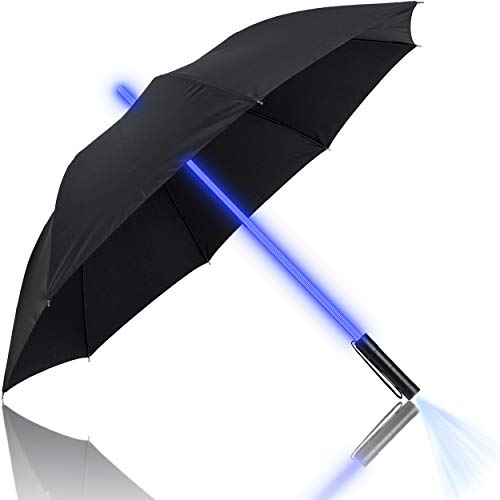 Premium Lightsaber Umbrella LED Light Up | 7 Different Shaft Colors and Built in Torch on The Bottom | Great Travel Umbrellas | Golf Umbrella | Lifetime Replacement (Black)
