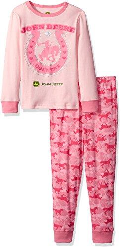 John Deere Little Girls' Toddler Horseshoe Pajama Set, Light Pink/Medium Pink, (Pink Horseshoe)