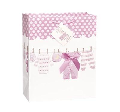 Large Pink Bow Clothesline Girl Baby Shower Gift Bag