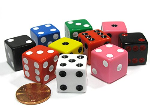 - Koplow Games Set of 10 D6 16mm Assorted Dice-White Blue Green Yellow Pink(2) Black(2) Red(2)
