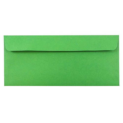 "JAM Paper #10 Business Envelope with Self Adhesive Closure - 4 1/8"" x 9 1/2"" - Brite Hue Christmas Green - 50/pack"