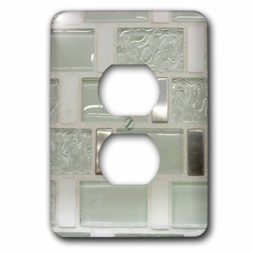 (3dRose lsp_223494_6 Image of Clear Glass And Metal Rectangle Tiles 2 Plug Outlet Cover)