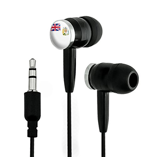 The British Antarctic Territory National Country Flag Novelty In-Ear Earbud Headphones - Black