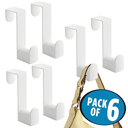mDesign Over the Door, Hook and Valet for Coats, Hats, Robes, Towels - Pack of 6, 1 Hook, White