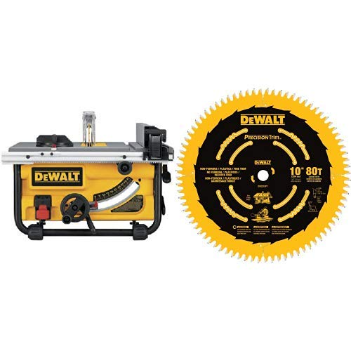 DEWALT DWE7480 10 in. Compact Job Site Table Saw with Site-Pro Modular Guarding System with DEWALT DW3219PT 10-Inch 80T Fine Crosscutting Saw Blade ()
