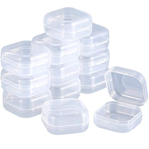 (SATINIOR 12 Pack Clear Plastic Beads Storage Containers Box with Hinged Lid for Beads and More(1.37 x 1.37 x 0.7 Inch))