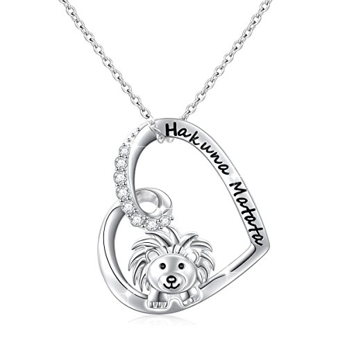 925 Sterling Silver Engraved Hakuna Matata Cute Animal Lion Pendant Necklace for Women Friendship Gifts, 18 inch Rolo Chain