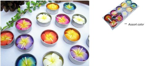 Thai Spa Candle , Relaxed Aroma Candle Plumeria Flower in Tealight with Aluminium Grommet Holder Thai Product Tealight Holder Case