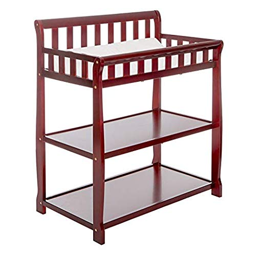 Dream On Me Ashton Changing Table, Cherry with Two Sided Contour Changing Pad, White