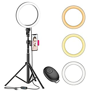 """8"""" LED Selfie Ring Light for Live Stream/Makeup/YouTube Video, Dimmable Beauty Ringlight with Tripod Stand and Phone Holder Compatible with Smartphones"""