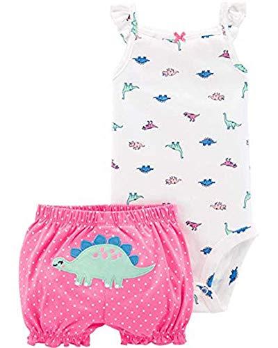 (Carter's 2-Piece Dinosaur Bodysuit & Short Set - Pink (3 Months) )