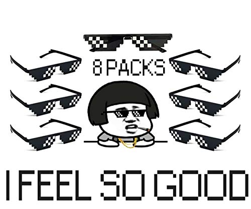 2f98da50b43e7 8 Pack Pixelated Party Sunglasses Thug Life Mosaic Gamer MLG Photo Props  Glasses for Adults Teens
