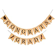 2 IN 1 Congrats & Grad Banner Graduation Decoration Sign (No DIY Required),Konsait Graduation Decor Party Favors Supplies Bunting Garland for High School Graduation College Grad Party with Cap Diploma