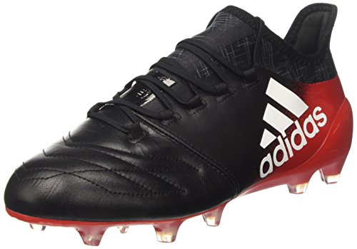 adidas X 16.1 Leather Fg, Botas de Fútbol para Hombre Negro (Core Black/footwear White/red)
