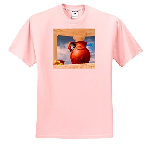 Alexis Photography - Still-Life - Ceramic Jar and a Bunch Of Grapevine On a Plate In an Ancient Temple - T-Shirts - Youth Light-Pink-T-Shirt XS(2-4) (Grapevine Three Light)