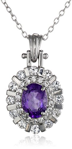 (Sterling Silver African Amethyst and Created White Sapphire Oval Pendant Necklace, 18