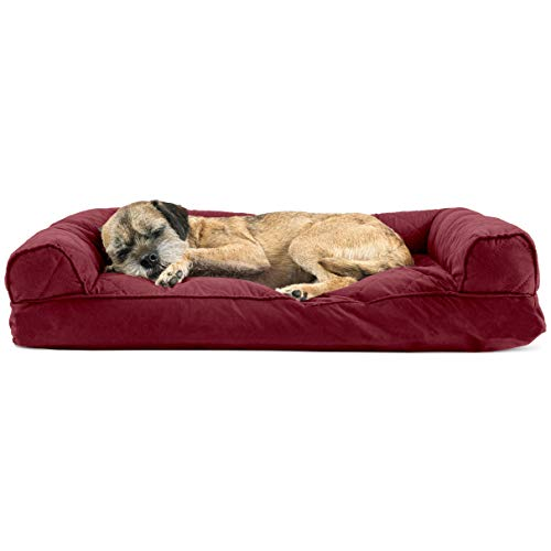 Dog Bed Wine - FurHaven Pet Dog Bed | Quilted Pillow Sofa-Style Couch Pet Bed for Dogs & Cats, Wine Red, Medium