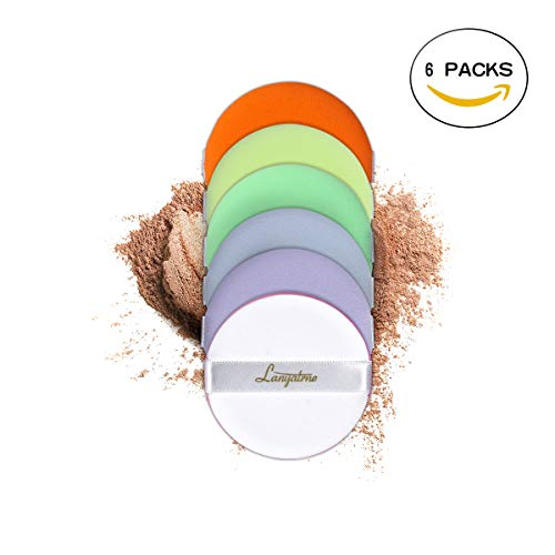 Lanyatrne Pack of 6 Multicolor Makeup Powder Puff Face Make Up Tools with Zipper PV ()
