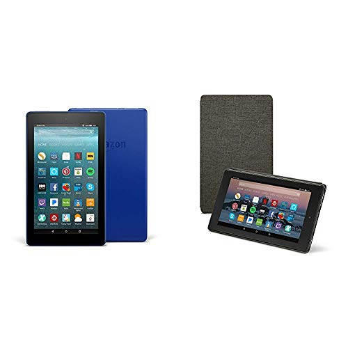 Fire 7 Tablet (16 GB, Marine Blue, With Special Offers) + Amazon Standing Case (Charcoal Black)