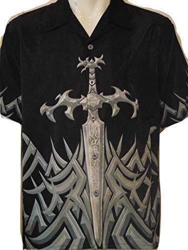 (SAPPHIRE LOUNGE Men's Short Sleeve Casual Novelty Printed Button Down Woven Shirt (Black Dagger, X-Large))
