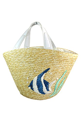 - Skelapparel Nautical Beach Straw Tote Bag with Embroidered Tropical Fish