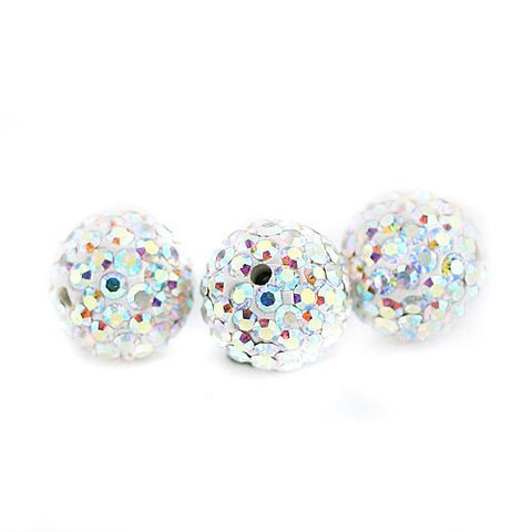 (10 PSC 10mm Crystal AB Swarovski Crystal Loose Spacer Bead Pave Disco Ball)